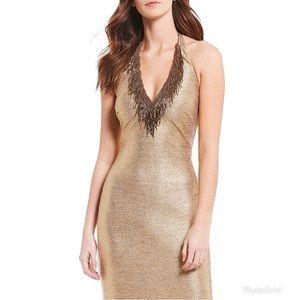 BADGLEY MISCHKA Beaded V-Neck Sequin gown